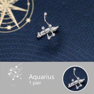 925 Sterling Silver Zodiac Earrings Cuff-Aquarius